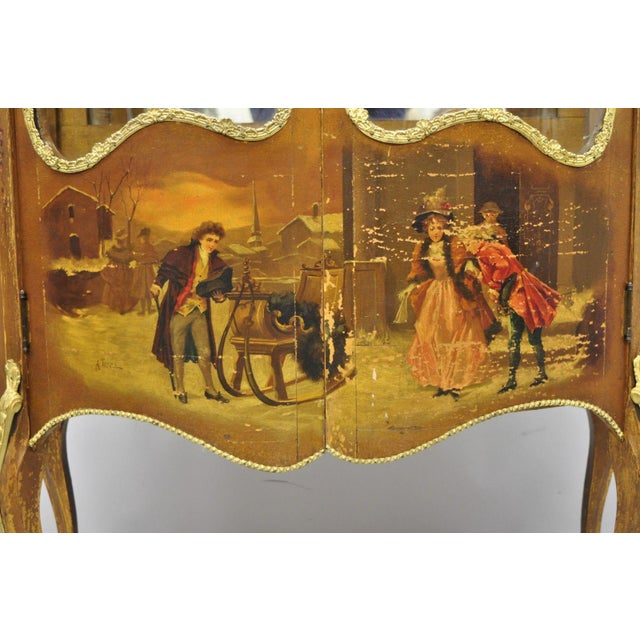19th Century French Louis XV Hand Painted Vernis Martin Vitrine China Cabinet For Sale - Image 12 of 13