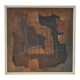 Image of Mid-Century Abstract Cubist Oil & Sand Painting For Sale