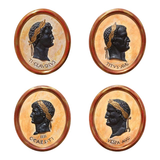 Classical Plaques of Roman Emperors - Set of 4 For Sale