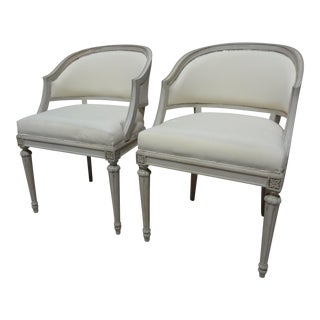 Swedish Gustavian Barrel Chairs - A Pair For Sale