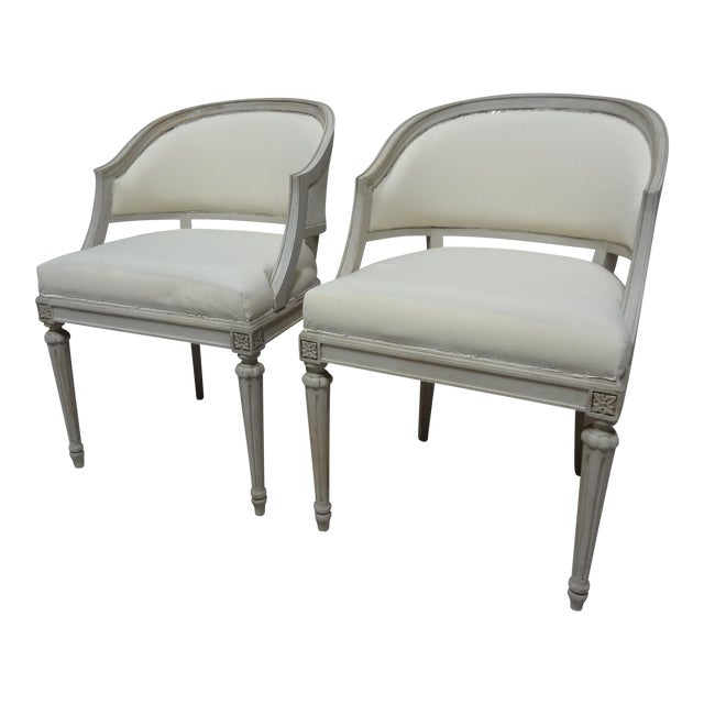 Swedish Gustavian Barrel Chairs - A Pair - Image 1 of 4
