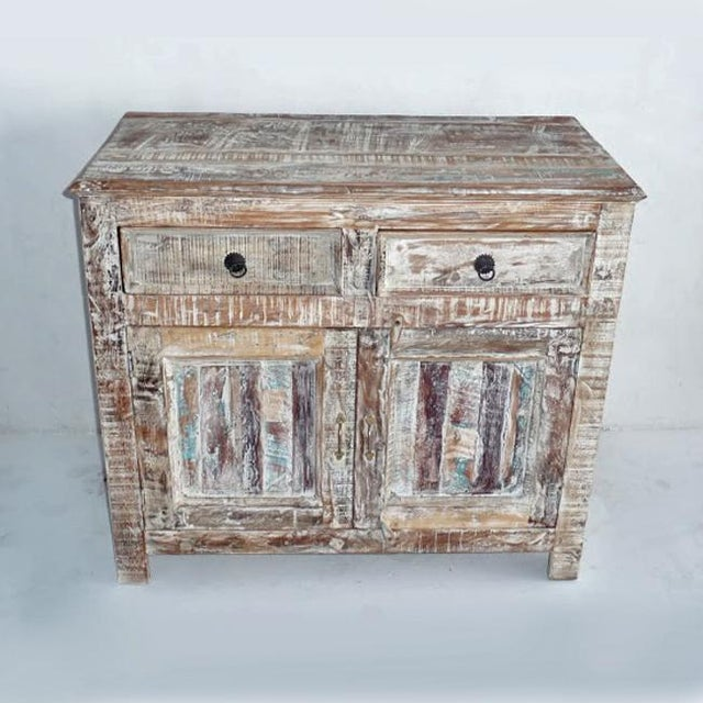 Reclaimed White Washed Wood Cabinet - Image 2 of 3
