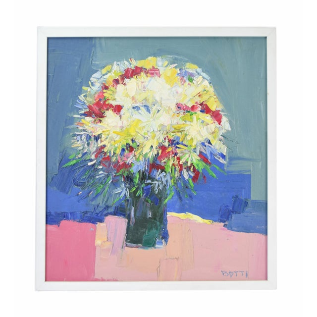 Italo Botti Mid-Century Modern Floral Still Life Oil Painting For Sale - Image 9 of 9