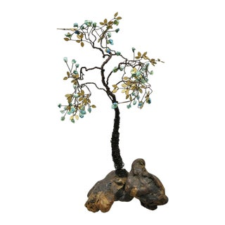 Copper Wire Bonsai Tree Brass Leaves Stone Fruit Sculpture For Sale