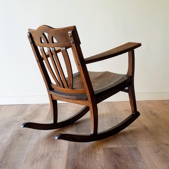Early 20th Century Arts + Crafts Oak Rocking Chair For Sale - Image 4 of 13