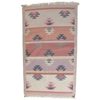 Native American Indian Navajo Style Area Rug in Pastels, 20th Century For Sale