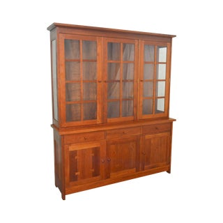 Stickley Arts & Crafts Style Solid Cherry 3 Door China Top Sideboard Cabinet