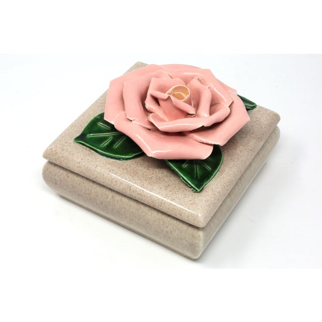 Gorgeous 1971 Chanel Inspired Camellia Ceramic Square Lidded Dish For Sale - Image 11 of 11