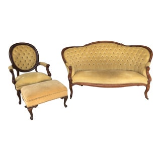 Vintage Victorian Parlor Set - 3 Pieces For Sale