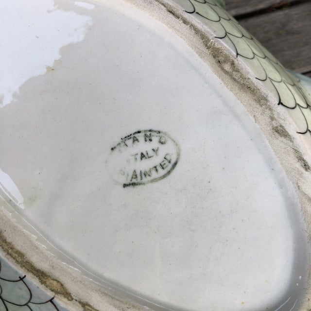 Vintage Mid Century Italian Hand Painted Majolica Fish Tureen For Sale In Sacramento - Image 6 of 10