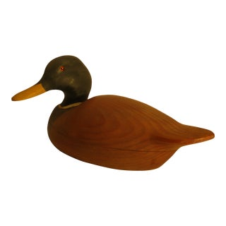 1980s Artist Signed Smokey Run Decoys Mallard Drake Figural Carved Wood Box For Sale