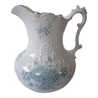 Late 19th Century Traditional White and Teal China Water Pitcher For Sale
