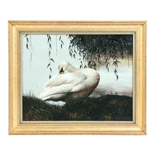 Giltwood Frame Oil / Canvas Wildlife Painting For Sale