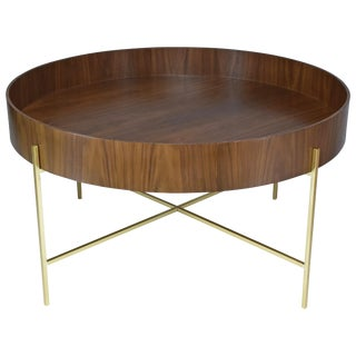 Contemporary Walnut and Brass Coffee Table by JA Studio For Sale