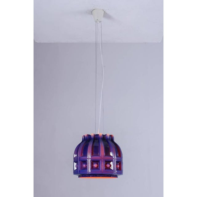 Mid-Century Modern Helena Tynell - Large Blue and Orange Glass Pendant for Flygsfors, Sweden, 1960s For Sale - Image 3 of 7