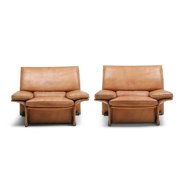 Thick Camel Leather Club Chairs by Titiana Ammanati & Giampiero Vitelli for Brunati - 1970s For Sale - Image 11 of 12