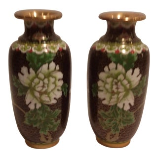 Chinese Cloisonne Floral Design Vases - a Pair For Sale
