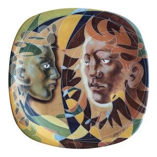 Hans Erni Decorative Porcelain Plate with Human Figure Design