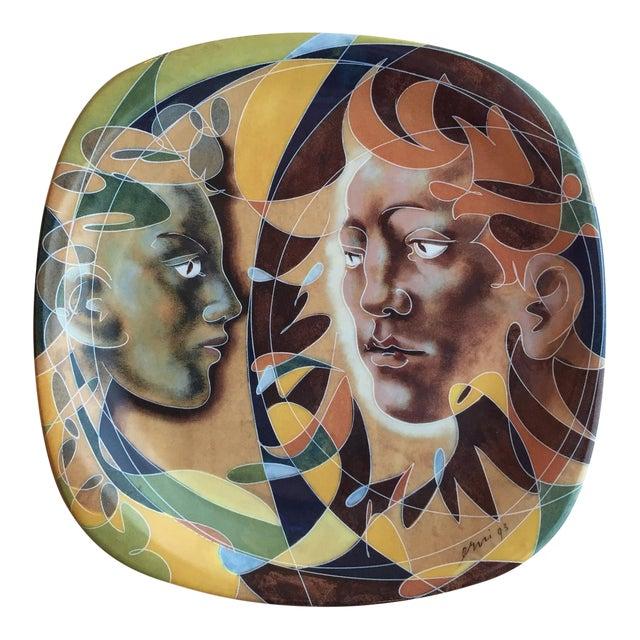 Hans Erni Decorative Porcelain Plate with Human Figure Design For Sale