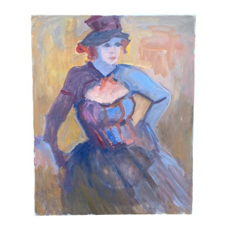 Vintage Abstract Victorian Lady Portrait Painting For Sale