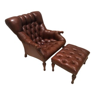 Modern Stickley Leather Leopold Chair & Ottoman For Sale