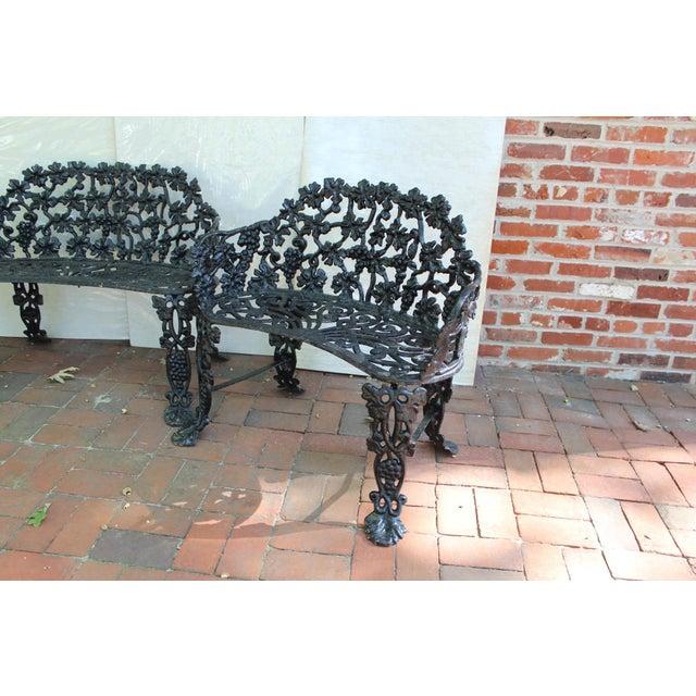Antique Victorian Cast Iron Grape Vine Garden Bench Antique cast iron patio or garden bench; features black painted cast...