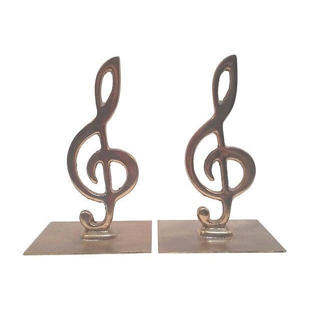 Brass Treble Clef Bookends- A Pair - Image 3 of 3