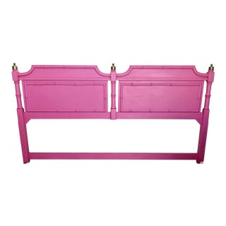 Vintage 1960 Stanley King Faux Bamboo/Brass Pink Headboard For Sale