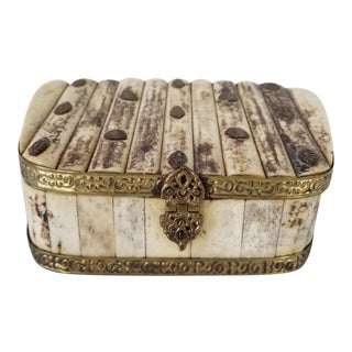 Vintage Tessellated Bone and Accent Brass Decorative Box For Sale