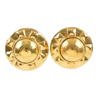 Kalinger Paris Clip on Earrings Gilt Metal Resin Large Sun For Sale