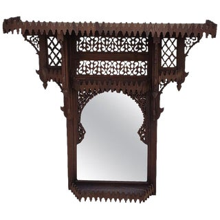 Moroccan Brown Wooden Wall Shelf With Mirror For Sale