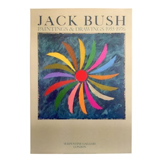 Jack Bush Rare Vintage 1980 Abstract Expressionist Lithograph Print London Exhibition Poster For Sale