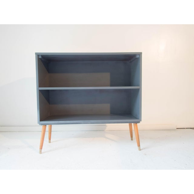 Paul McCobb for Planner Group Hardwood Bookcase 36 x 12 x 35H Midcentury Modern, Painted Blue/Gray (modified, legs). We...