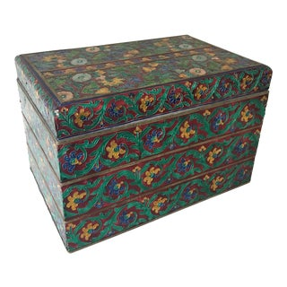 1970s Boho Chic Indian Meenakari Enameled Wood Box