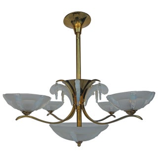 Italian Opalescent Glass Chandelier After Sabino For Sale