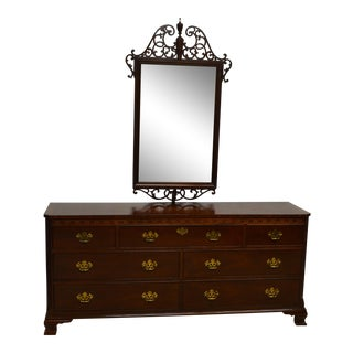 Baker Chippendale Style Mahogany Triple Dresser with Mirror