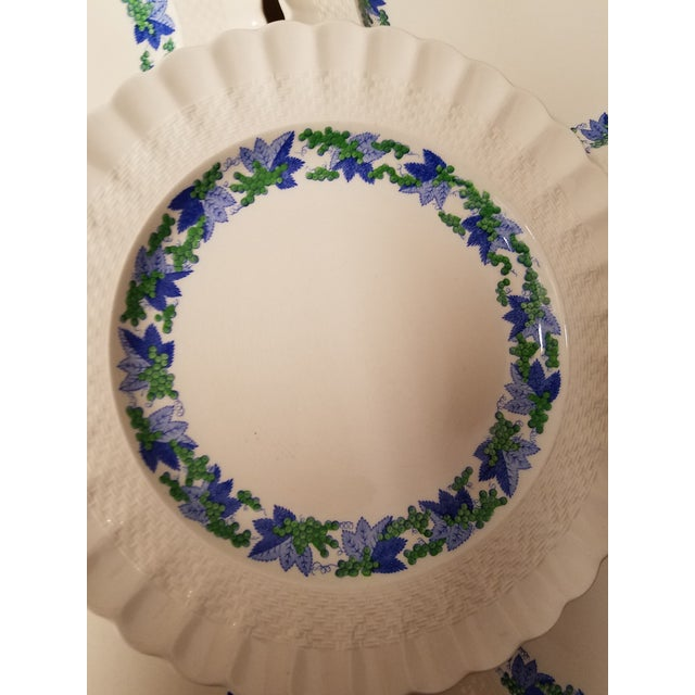 A really pretty vintage pattern with a scalloped and embossed edge with blue and green decoration. Cheery preppy plates of...