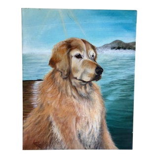 Golden Retriever Artisan Dog Painting For Sale