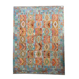 Hand Woven Reversible Geometric Blue and Orange Tile Pattern Kilim Entry Rug - 8′4″ × 11′2″ For Sale
