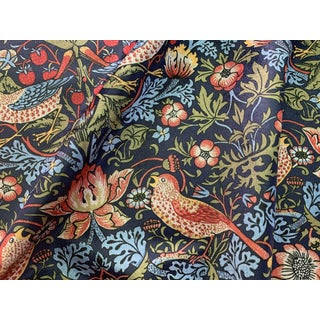 William Morris Strawberry Thief Upholstery Fabric: Navy 1 Yard For Sale