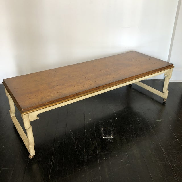 1960s Tomlinson Burled Walnut Coffee / Cocktail Table with beautoful polished Bookmarked Top, original Cerused Lime Finish...