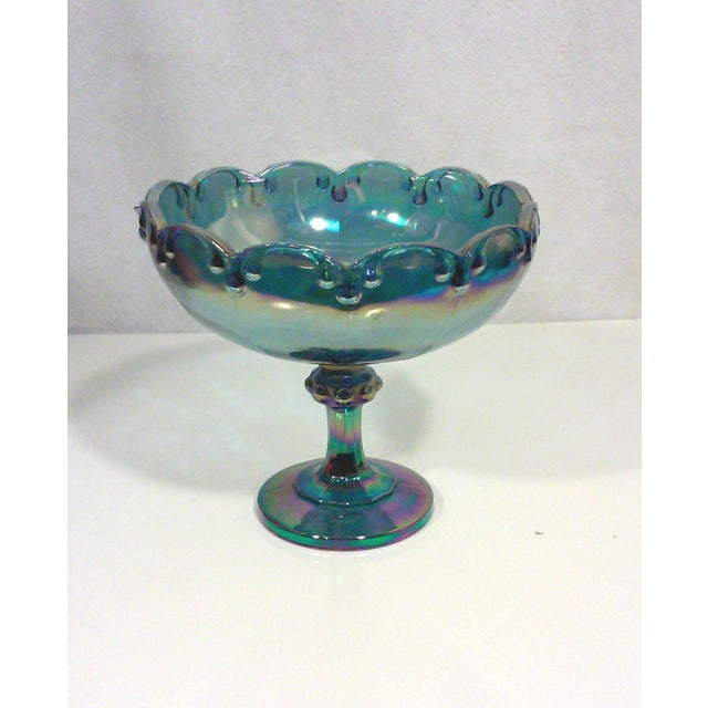 Peacock Lustre Glass Compote - Image 2 of 4