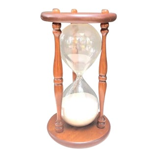 Vintage Standing Wood Hourglass For Sale