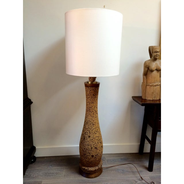 Contemporary Mid-Century Cork Floor Lamp With Linen Shade For Sale - Image 3 of 9