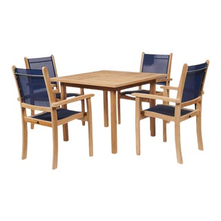 Pearl 5-Piece Teak Square Table Outdoor Dining Set in Blue For Sale