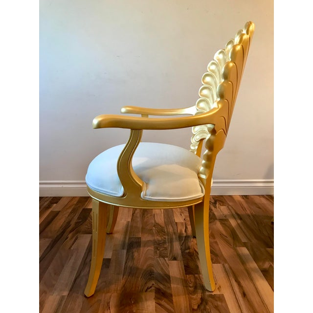 Mid 20th Century Mid Century Hollywood Regency Venetian Grotto Shell Gold Carved Arm Chairs- Set 6 For Sale - Image 5 of 12