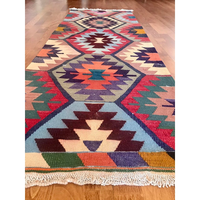 "Brown Vintage Turkish Kilim -2'2"" 6'3"" For Sale - Image 8 of 11"