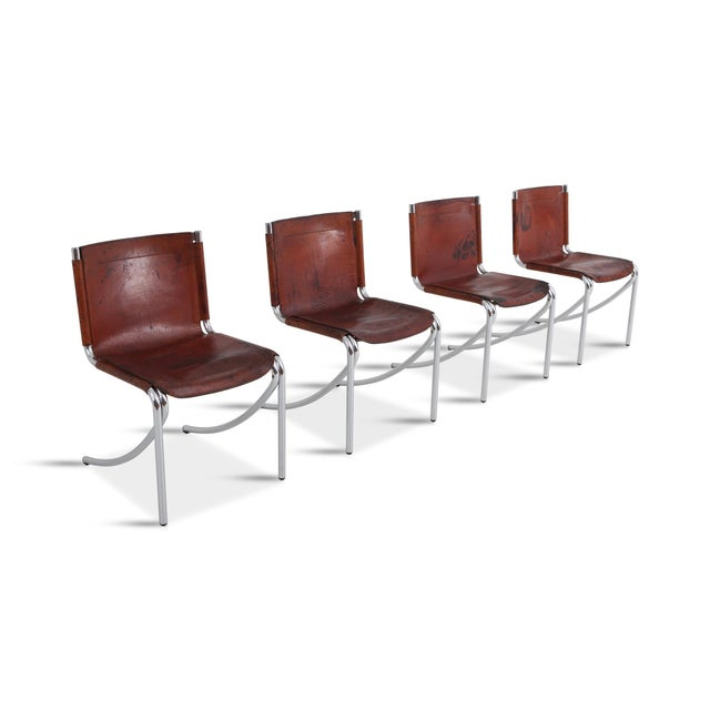 1970s Giotto Stoppino Patinated Red Leather and Chrome Vintage Dining Chairs Model Jot for Acerbis For Sale - Image 5 of 11