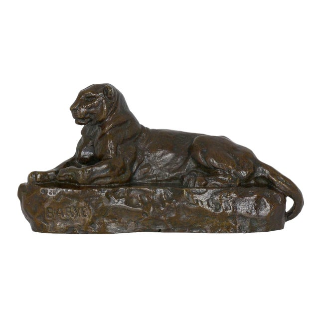 "French Bronze Sculpture After Antoine-Louis Barye ""Panther of India"", Cast by Barbedienne For Sale"
