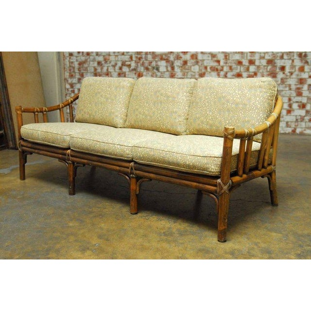 Organic modern bamboo rattan sofa by mcguire chairish for Modern rattan sofa